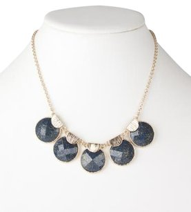 Other Pretty Blue and Gold Round Sparkle Stone Gold-tone Necklace