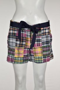 Molly B Womens Plaid Shorts Blue