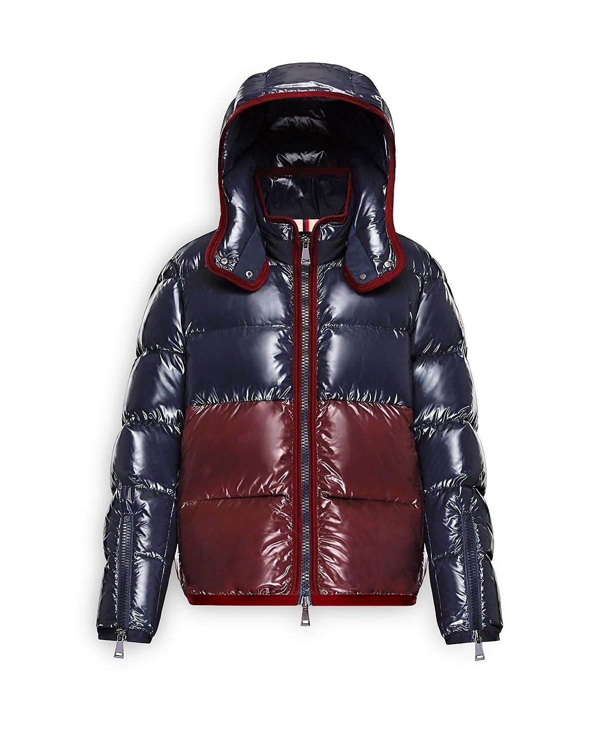 Moncler Cotinus Quilted Down Peacoat Colorblocked Coat ...