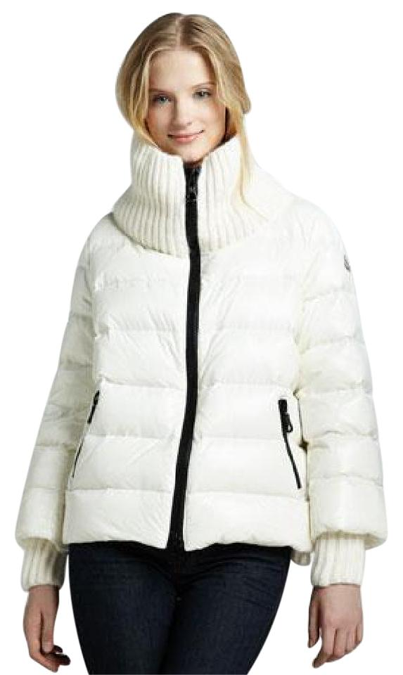 Moncler Cream Cigale Down Feather Puffer Parka Ribbed Trim White ...