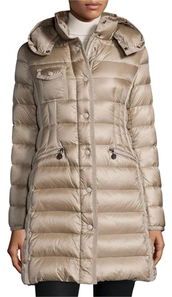 Moncler Taupe/Gold Hermine Hooded Long Puffer Puffy/Ski Coat Size 14 (L) - Tradesy