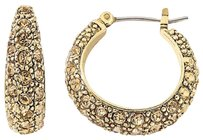 MONET Monet(R) Gold-Tone Brown Pave Hoop Earrings