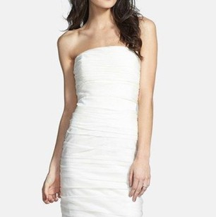 Monique Lhuillier White Monique Lhuillier Bridesmaids Ruched Strapless Cationic Dress Dress