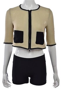 Moschino Cheap Chic Womens Beige Basic Cropped 34 Sleeve Casual Multi-Color Jacket