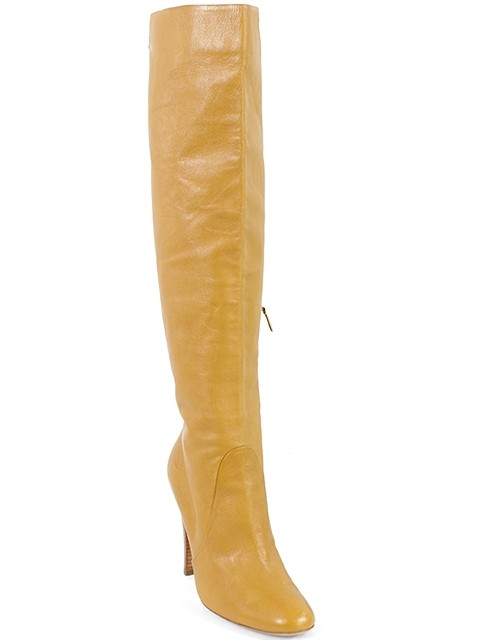 moschino caramel mustard leather knee high boots booties