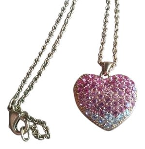 Moschino Double Sided Gold Tone Necklace With Pink & White Crystals