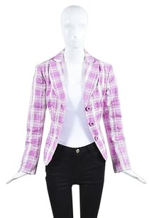 Moschino Moschino Cheap And Chic Pink White Plaid Cotton Three Button Blazer Jacket