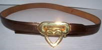 Moschino Moschino Vintage Italy Bronze Leather Gold Heart Belt