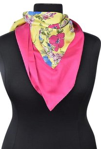 Moschino Moschino Womens Yellow Scarf Os Floral Silk Casual