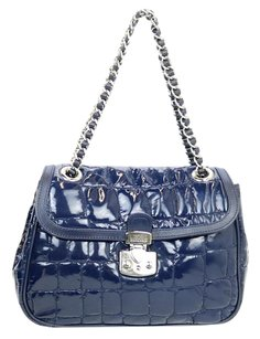 Moschino Patent Leather Blue Chain Shoulder Bag