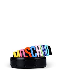 Moschino Rainbow logo belt