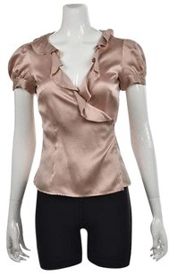 Moschino Cheap And Chic Womens Mauve Wrap Metallic Shirt Top Pink