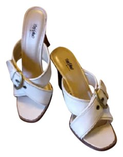 Mossimo Supply Co. Buckle Adjustable Mule White Wedges