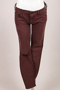 Mother Maroon Blow Out Skinny Jeans