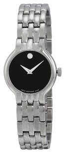 Movado Black Dial Stainless Steel Bracelet Ladies Watch 0606338