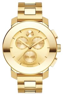 Movado Bold Gold-toned Metallic Dial Unisex Chronograph Watch