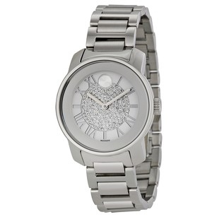 Movado Bold Silver Crystal Pave Dial Stainless Steel Ladies Watch MV3600254