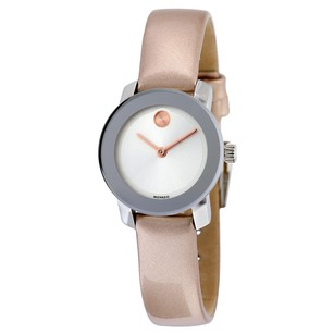 Movado Bold Silver Rose Gold Leather Quartz Ladies Watch MV3600340