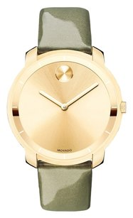 Movado Bold Yellow Gold Sunray Dial Green Leather Laides Quartz Watch