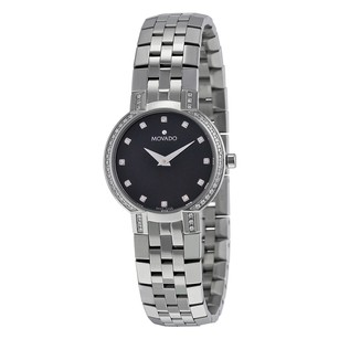 Movado Faceto Diamond Black Dial Stainless Steel Ladies Watch MV.0605586
