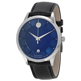 Movado Movado 1881 Automatic Blue Dial Black Leather Band Mens Watch