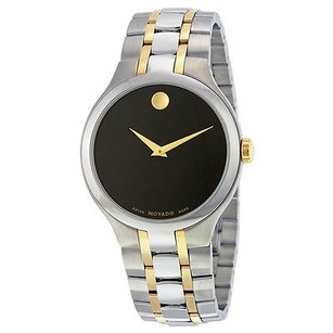 Movado Movado Black Dial Two Tone Stainless Steel Mens Watch
