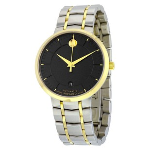 Movado Movado Black Dial Two Tone Stainless Steel Watch