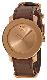 Movado MOVADO Bold Rose Gold Dial Brown Leather Unisex Watch MV3600364