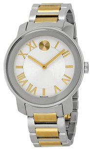 Movado MOVADO Bold Silvered White Dial Two-tone Stainless Steel Men's Watch MV3600208