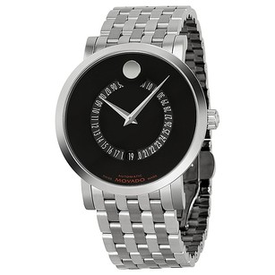 Movado Red Label Automatic Black Dial Animated Date Stainless Men's Watch