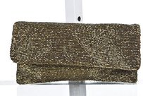 Moyna Womens Beaded Gold Clutch