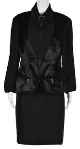 Mugler Mugler Womens Black Skirt Suit Knee Length Color Block Casual