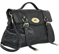 Mulberry Oversized Alexa Gold Toned Leather Buckle Top Handle Satchel in Black