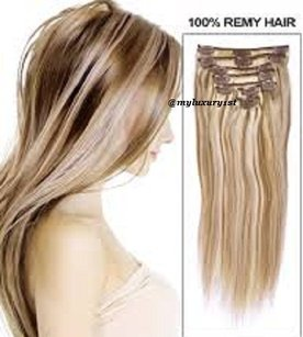 MyLuxury1st Clip In Remy Human Hair Extensions 70g 7 Pieces Bleach Blonde With Ash Brown Highlights
