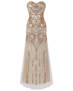 Mystic Gold Ball Gown Party Empire Bead Dress