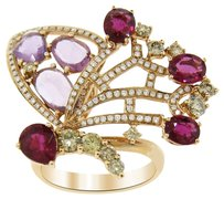 1.30CT DIAMOND 18K YELLOW GOLD PINK AND PURPLE STONE BUTTERFLY RING SIZE 5-8