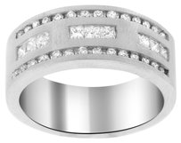 14K WHITE GOLD 1.00CT DIAMOND MEN'S BAND SIZE 10