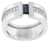 18K WHITE GOLD DIAMOND AND SAPPHIRE RING SIZE 7