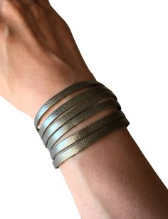 Nakamol Adjustable Leather Strips Cuff - Pewter