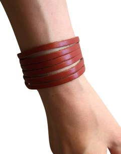 Nakamol NEW! Adjustable Leather Strips Cuff - Luggage