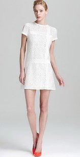 Nanette Lepore short dress white Lace Solid Trim La Rambla Shift 130931f on Tradesy