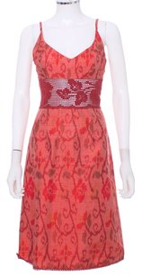 Red Coral Maxi Dress by Nanette Lepore Silk Knit Crochet Sheer Floral