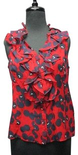 Nanette Lepore Red Print Silk Sleeveless Ruffle 5408a Top red, navy, white