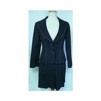 Nanette Lepore Womens Nanette Lepore Blue Pin Striped Skirt Suit Jacket Blazer