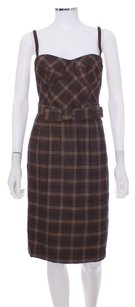 Nanette Lepore short dress Brown Plaid Wool Belted Bustier Bow on Tradesy