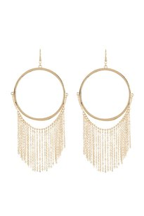 Natasha Couture Natasha Accessories Large Hoop With Fringe Earrings
