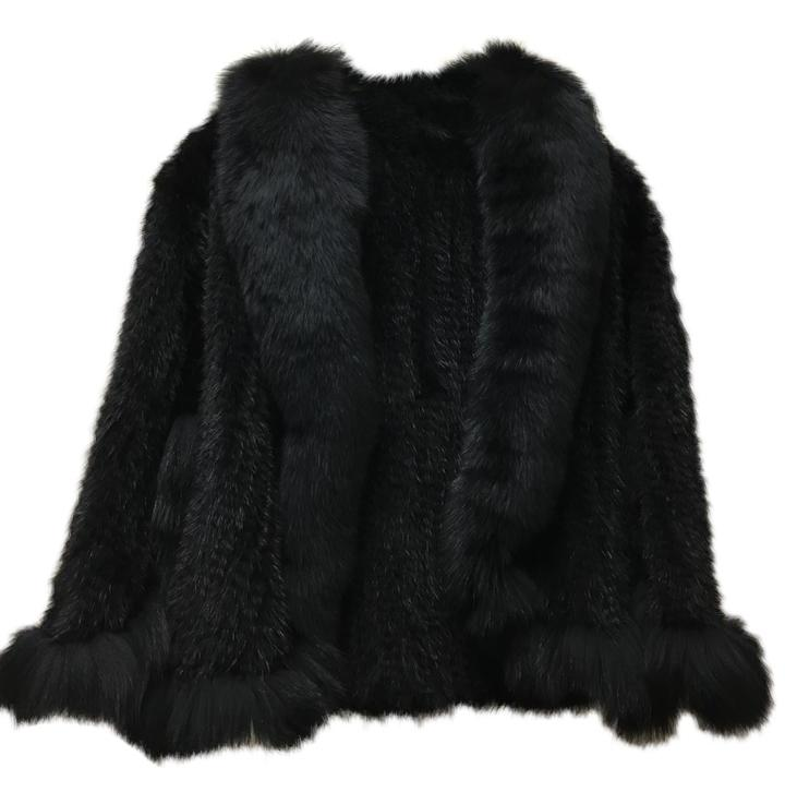 Natural Mink Fur Knitted Cape With Fox Fur Collar