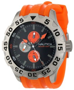 Nautica Nautica BDF 100 N15565G Men's Orange Rubber Sports Watch
