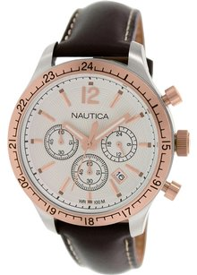 Nautica Nautica Men's N17638G BFD 104 Gold-Tone Stainless Steel Watch with Brown Leather Strap