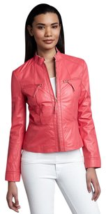 Neiman Marcus Salmon Coral Leather Jacket